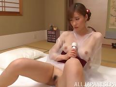 Alluring mature Japanese woman gives a blowjob and rides a man's cock tube porn video