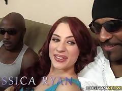 Jessica Ryan takes two big black cocks tube porn video