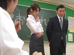 Skirt and blouse slut fucked and covered in a hot facial