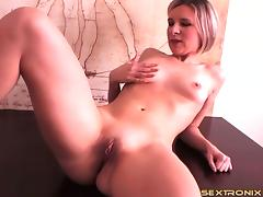 Lithe body blonde in a lusty amateur striptease from lingerie
