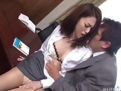 Asian secretary and her boss have some rough sex in the office
