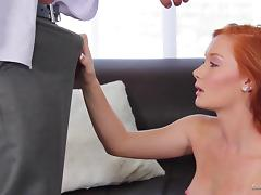 Redhead babe receives oral sex and gets fucked in a casting video