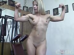 Muscle Cougar Claire Works Out Naked tube porn video