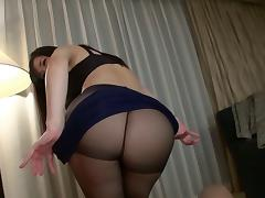 Pantyhose wearing Japanese MILF with big tits likes riding cocks