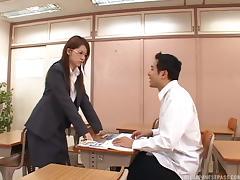 Classy Japanese teacher has an arousing fuck in class