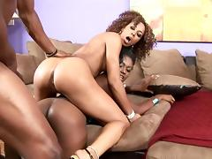 Hardcore ebony bitches have a threesome with a hung black man