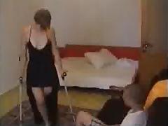 Onelegged girl in front of boyfriend