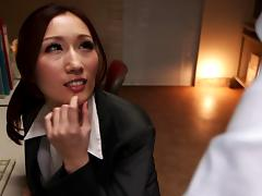 Beautiful clothed Japanese bitch fucked in the office porn tube video