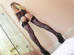 Alluring blonde in sexy lingerie has her smooth butthole fucked hard porn tube video