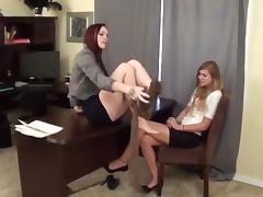 Feet, Cum, Cumshot, Feet, Lesbian, Office