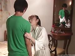 Japanese foreplay makes him hard as a rock to fuck her tube porn video