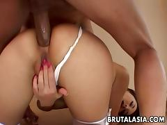 Smooth Asian redhead likes rough face fucking and brutal sex porn tube video