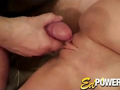 Small tit girl in a cute dress has her shaved cunt penetrated