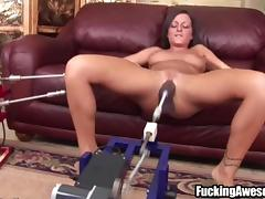 Busty brunette plays with fucking machine porn tube video