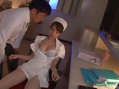 Naughty Japanese nurse rimming a man's ass in the hospital tube porn video