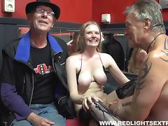 Mature dude fingers a prostitute then wedges his cock in her