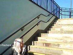 Blonde amateur babe Lissas public flashing and homemade voyeur footage