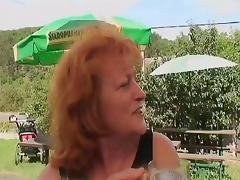 Horny old couple sneaks into the woods for a picnic and wild sex