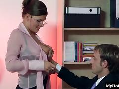 Big Tits, Babe, Big Tits, Glasses, Lingerie, Office
