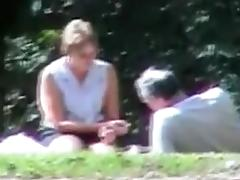 Old and nasty swingers in the park having threesome sex tube porn video