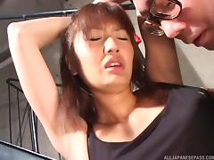 Enticing Japanese MILF bitch in lingerie gets a pussy drilling
