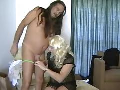 Guy & Crossdresser Mutual Condom Dongs Sucking tube porn video