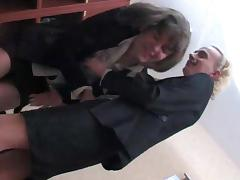 Crossdressers office twosome tube porn video