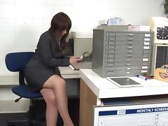 Asian MILF has her pantyhose ripped and pussy fucked in the office porn tube video