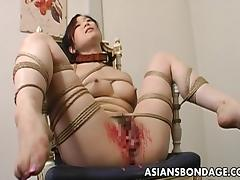 Toy fucked tied up and pussy waxed tube porn video