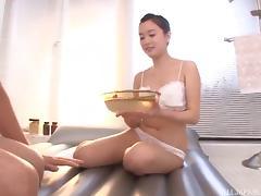 Fabulous Asian masseuse oils up a man and sucks his dick