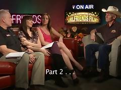 Porn guys and a couple of sexy pornstars on a chat show