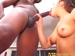 little brunette girl sucking and fucking a big black cock porn tube video