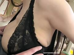 Giant big tits asian talking with a guy