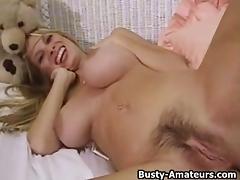 Mary Fox masturbates her hairy pussy