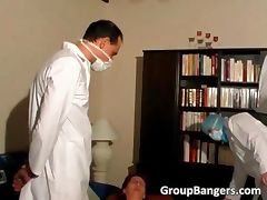 Three horny doctors fuck this slut tube porn video