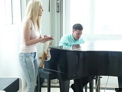 Her piano teacher gives her a lesson then fucks her hard tube porn video