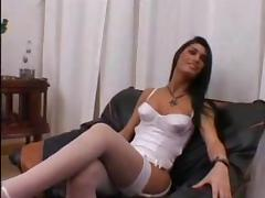 TS In White Lingerie Getting Nailed