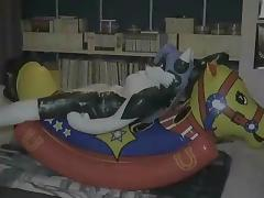 Inflatable Halo husky on rocking horse porn tube video