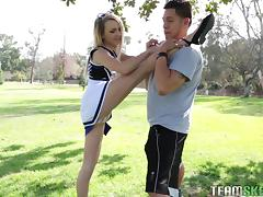 Flexible, sexy cheerleader works out on his hard dick tube porn video