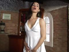 Pale-skinned transsexual slut with a big tight butt and long silky smooth legs masturbating
