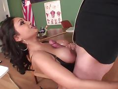 Foxy brunette milf with big tits gets fucked doggy style till orgasm