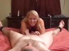 Kinky blonde with perky tits is giving me a great handjob on camera