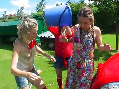 Colorful and playful bitches having a fun time outdoors porn tube video