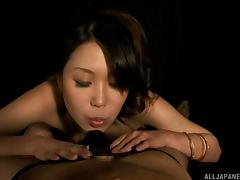 Sucking through his underwear leads to a POV Japanese blowjob