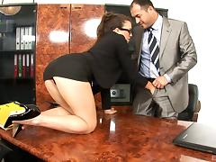 A very helpful secretary wears glasses while her boss nails her porn tube video