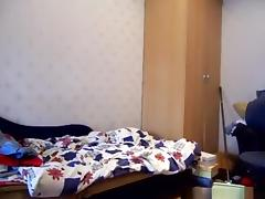 Hot ponytailed russian brunette girl has phonesex with her bf in her bedroom tube porn video