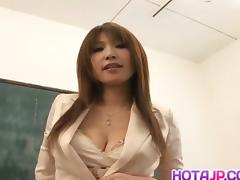 Ai Kurosawa fondles her tits and rubs pussy in front of fell