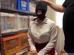 Asian slave slut is blindfolded, gagged and used by her master tube porn video