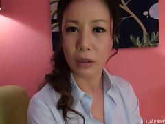 Stunning Japanese MILF gets a dick rammed deep inside her
