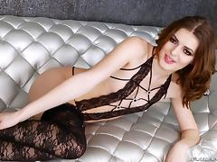 Fabulous tranny model in stockings masturbates in a solo shoot porn tube video
